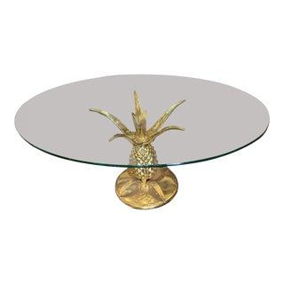 1970s Hollywood Regency Maison Jansen Brass Pineapple Coffee Table For Sale