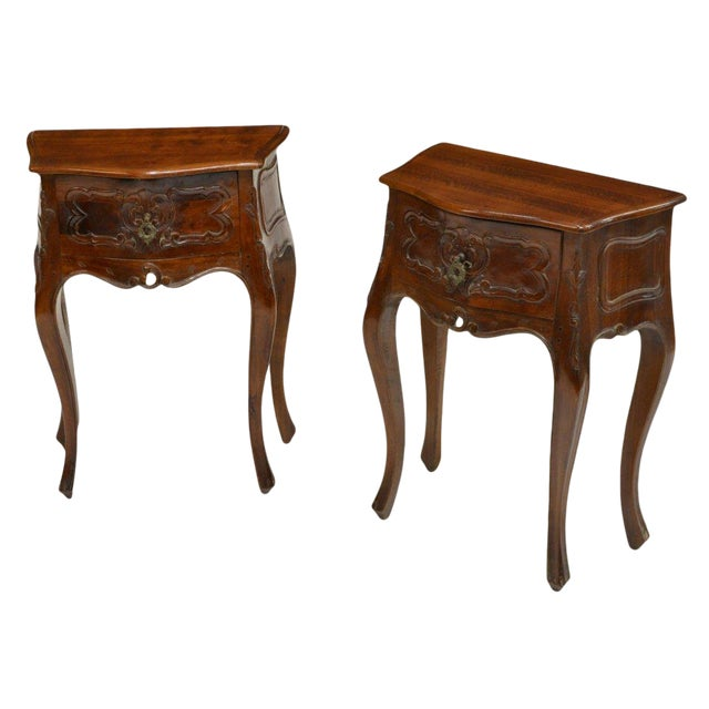 Petite Louis XV Style Carved Cherrywood Bedside Tables - a Pair For Sale