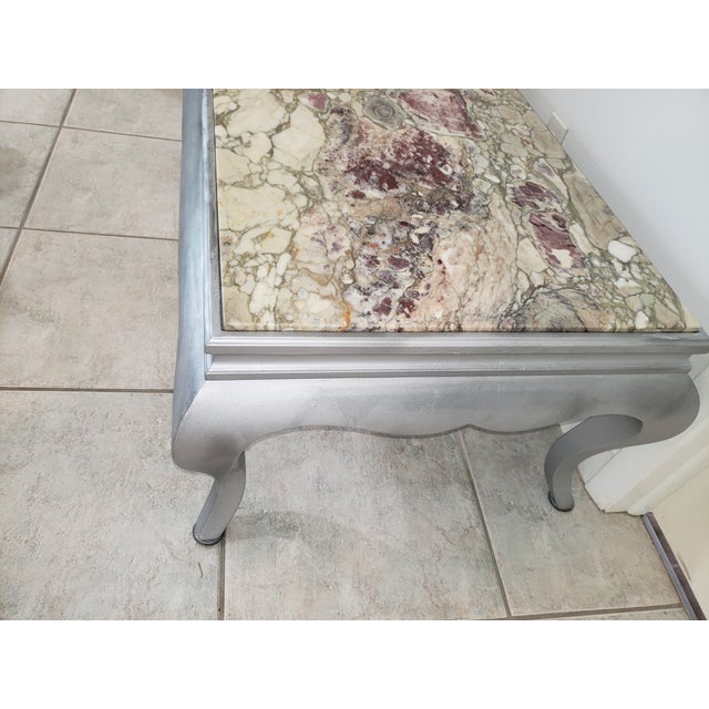 1970s Queen Anne Burnished Silver Wood Coffee Table For Sale - Image 5 of 10