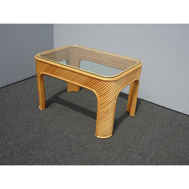 Vintage Mid Century Modern Split Bamboo Rattan Coffee End Table For Sale - Image 11 of 11