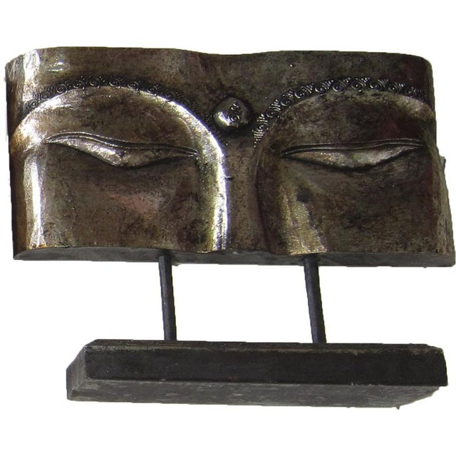 Boho Chic Indonesian Silver Face Panel on Stand For Sale - Image 3 of 3