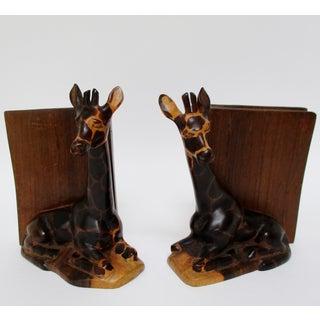 Wood Giraffe Bookends, a Pair Preview