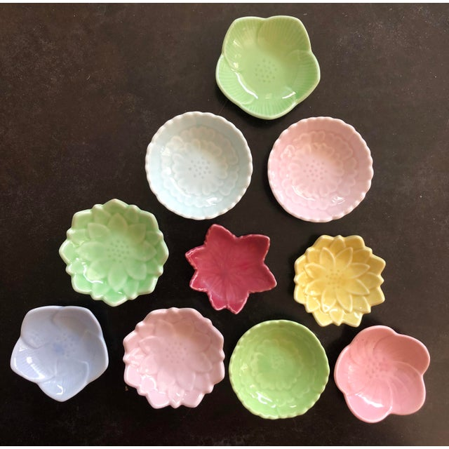 Green Japanese Arita Porcelain Ceramic Leaf & Petal Small Plates in Pastel Colors - Set of 10 For Sale - Image 8 of 8
