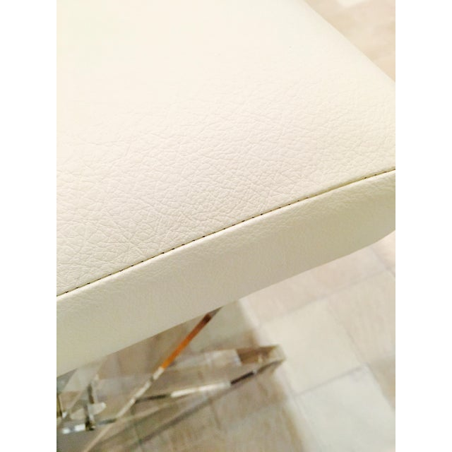 White Leather Lucite X Benches - A Pair - Image 5 of 6