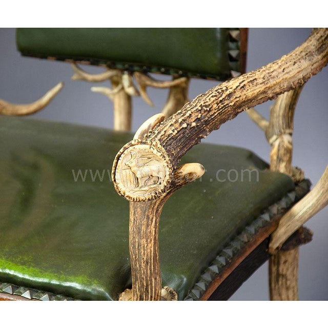 Antique Black Forest Three Seater Antler Sofa 1900 For Sale - Image 4 of 6