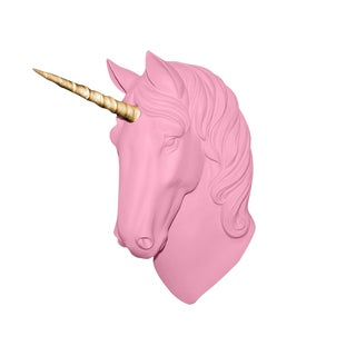 "Wall Charmers ""The Luna"" Faux Blossom Pink + Gold Horn Magical Unicorn Head Wall Hanging"