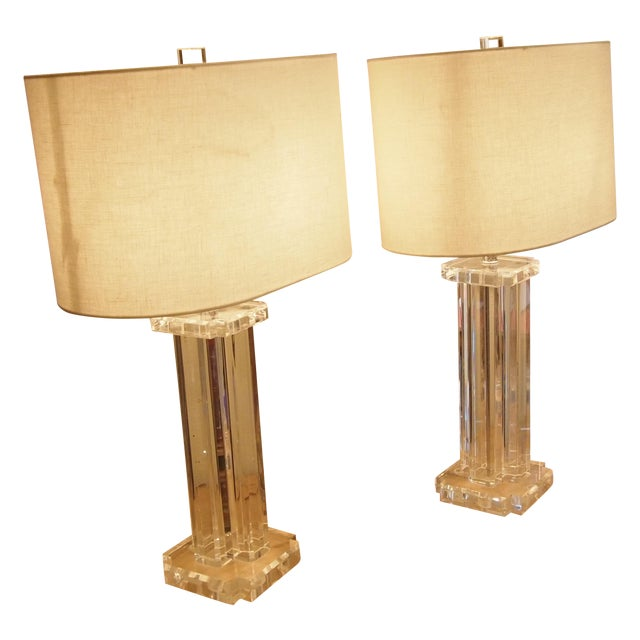 1970s Modern Acrylic Table Lamps- A Pair - Image 1 of 5