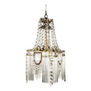 1920's Art Deco Crystal Hanging Chandelier For Sale