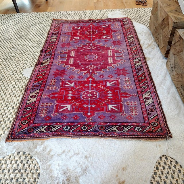Mid Century Pink and Purple Heriz Rug For Sale - Image 4 of 13