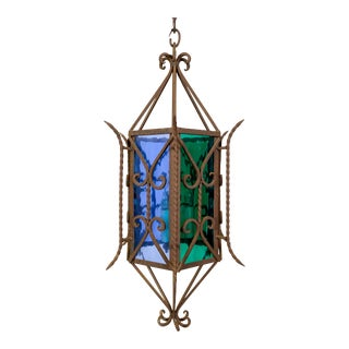 Gothic Revival Lantern With Blue & Green Glass For Sale