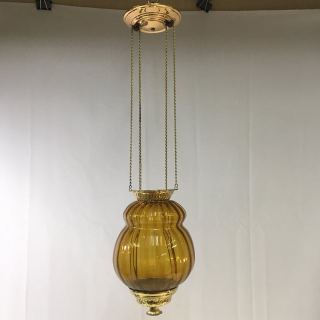 Antique Late 19th Century Victorian Moroccan Hanging Brass Amber Glass Lantern For Sale - Image 11 of 11