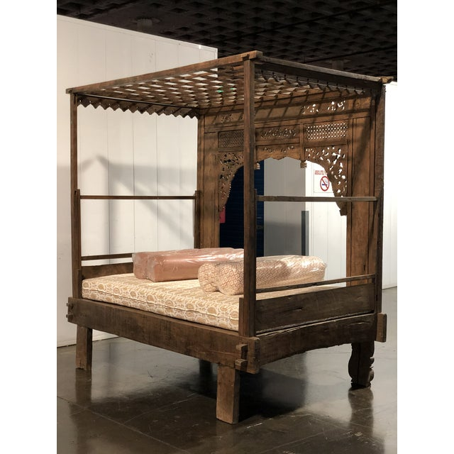 Brown Antique Balinese Indian Boho Chic Teakwood Canopy Daybed in Elizabeth Eakins Fabrics For Sale - Image 8 of 13