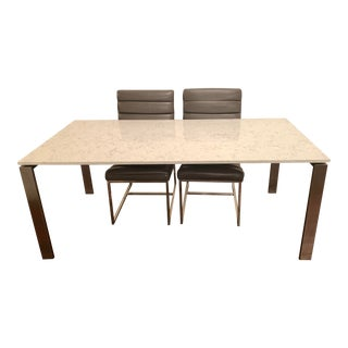 Modern Room & Board Rand Marbled Dining Table For Sale
