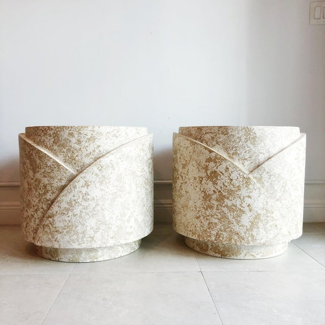 Pair of plaster side tables or pedestals with a two tone textured finish. Made in the 1980s.