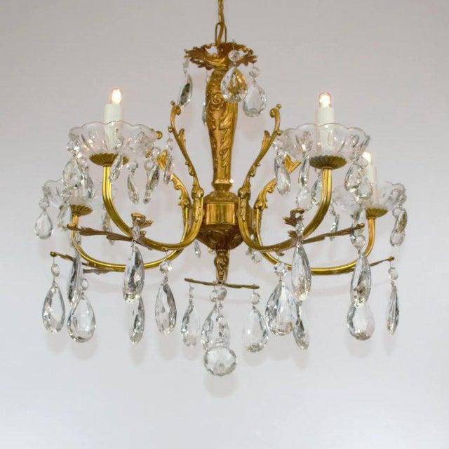 Brass & Crystal Chandelier For Sale In Denver - Image 6 of 10