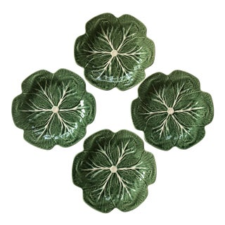 Bordallo Pinheiro Majolica Cabbage Leaf Luncheon Plates - Set of 4 For Sale
