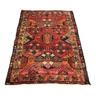 1960s Kurdish Hand-Knotted Red Wool Rug For Sale