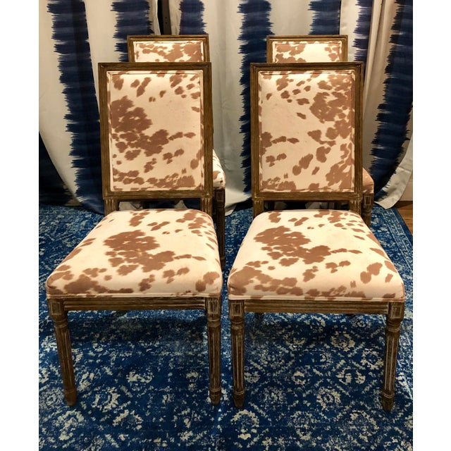 Faux Pony Hair Dining Chairs Louis XVI Style For Sale - Image 4 of 4