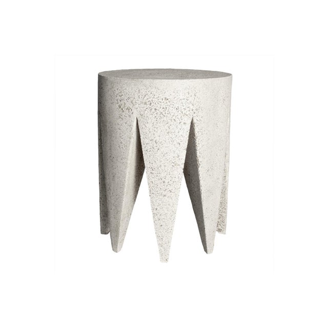 Gray Cast Resin 'King Me' Side Table, Aged Stone Finish by Zachary A. Design For Sale - Image 8 of 8