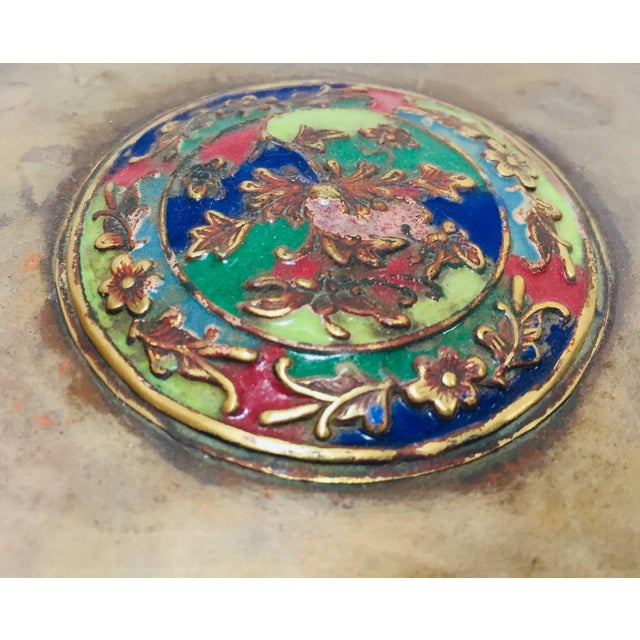 Early 20th Century Brass Art Deco Lidded Box With Enameled Decoration For Sale - Image 5 of 13