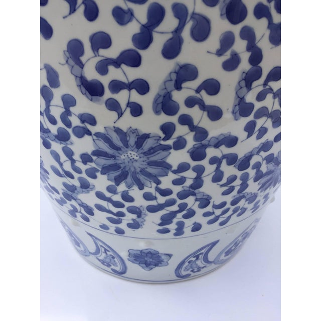 Chinese Porcelain Garden Seat in Blue and White Floral Motif For Sale In Los Angeles - Image 6 of 13