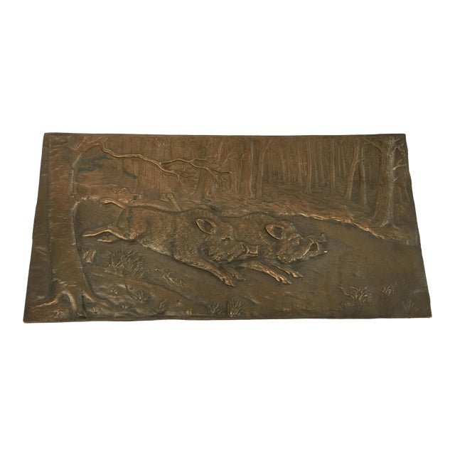 Bronze Relief Placque Wild Boar by H Henjes Circa 1880 For Sale