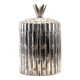 Mid Century Italian Silver Plate Faux Bamboo Ice Bucket