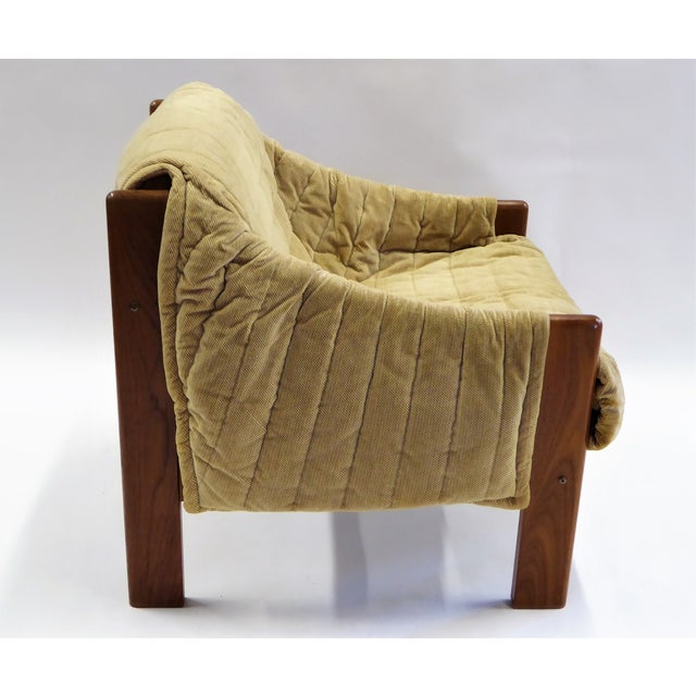 Fabric 1970s Domino Mobler Danish Modern Solid Teak Lounge Chair For Sale - Image 7 of 13