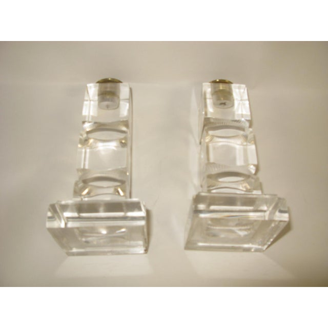Plastic Vintage Lucite Candle Holders - a Pair For Sale - Image 7 of 8