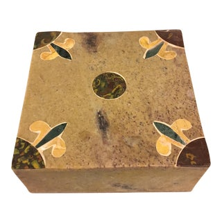 Soapstone Trinket Box With Inlay For Sale
