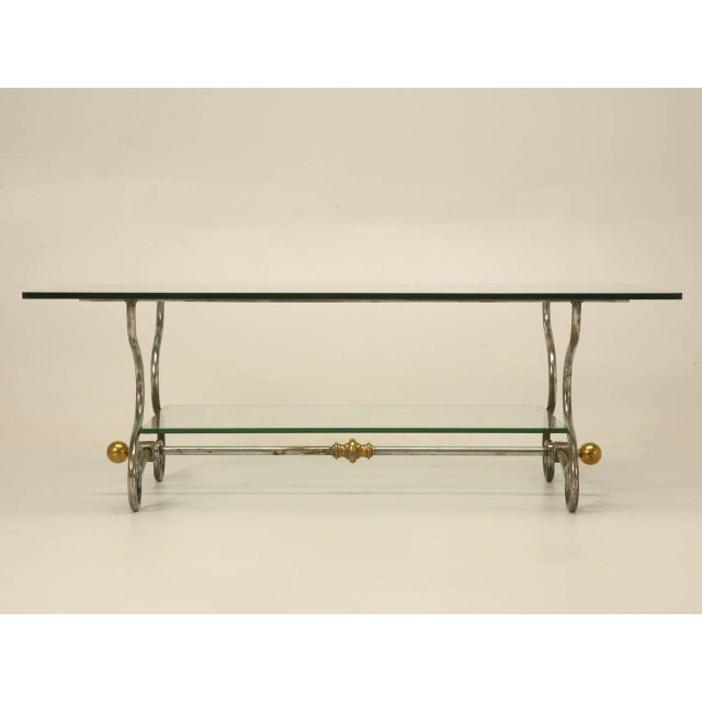 French Glass Steel Brass TwoTier Coffee Table Chairish - Two level coffee table