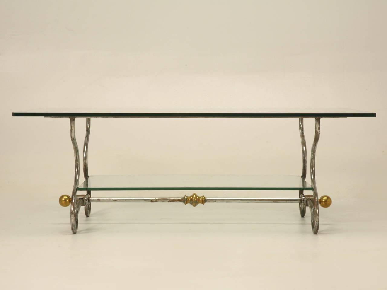 1960s French Glass, Steel U0026 Brass Two Tier Coffee Table For Sale   Image