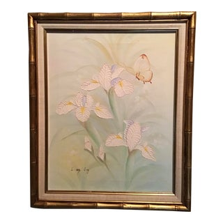 Mid Century Textural Orchids Painting on Canvas With Gold Leafed Faux Bamboo Frame For Sale