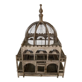 Large Wooden Antique Bird Cage For Sale
