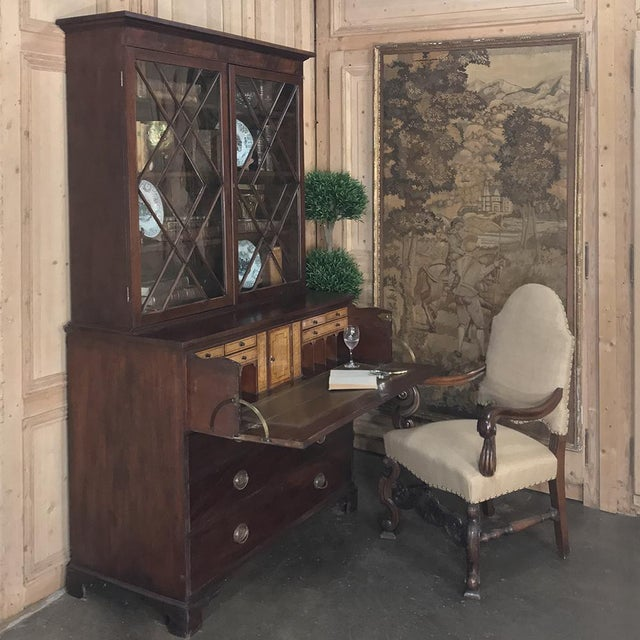 19th Century Antique English Mahogany Secretary ~ Bookcase is the essence of tailored architecture, with diamond shaped...