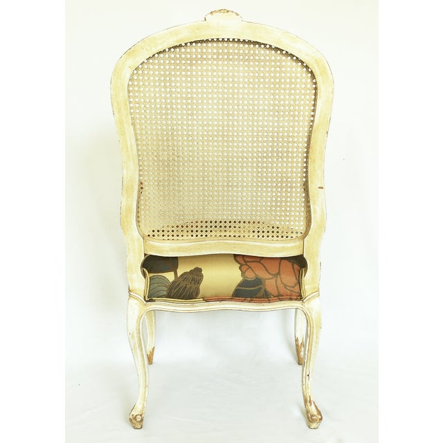Vintage French Carved Cane Back Arm Chair For Sale - Image 5 of 6
