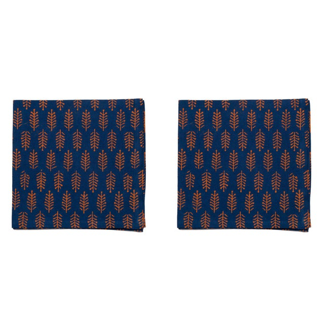 Fern Napkins, Teal & Orange - A Pair For Sale - Image 4 of 4