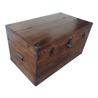 19th Century Campaign Style Camphor Wood Trunk For Sale