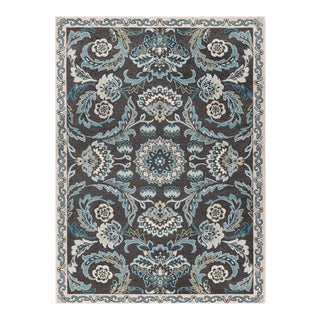 Peyton Shaina Transitional Floral Charcoal Rectangle Area Rug - 5' x 8' For Sale