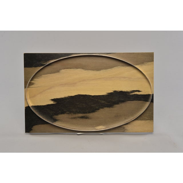 Black Hand Stained Wood Tray With Metal Oval Insert For Sale - Image 8 of 8