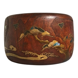 Japanese Meiji Period Large Hibachi Planter with Lacquer and Mother of Pearl Embellishments For Sale