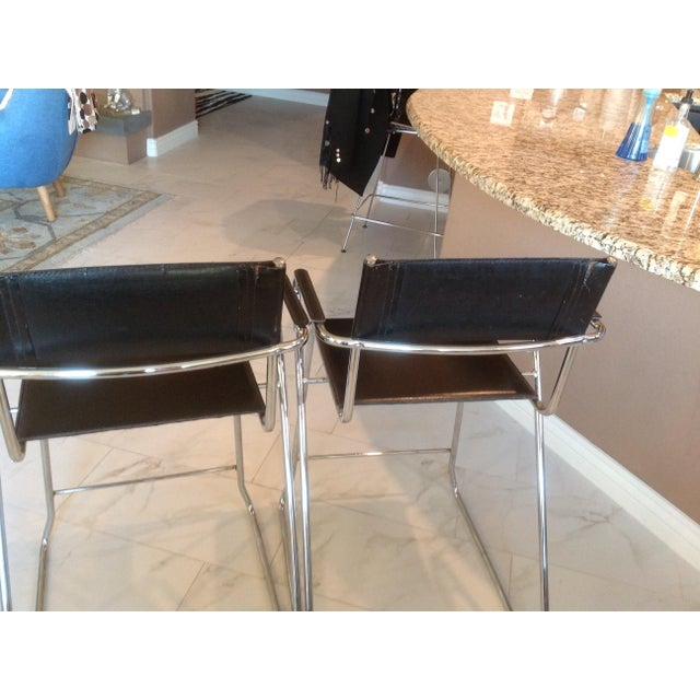 Mid 20th Century Mid-Century Chrome and Black Leather Counter Z Bar Stools - a Pair For Sale - Image 5 of 8