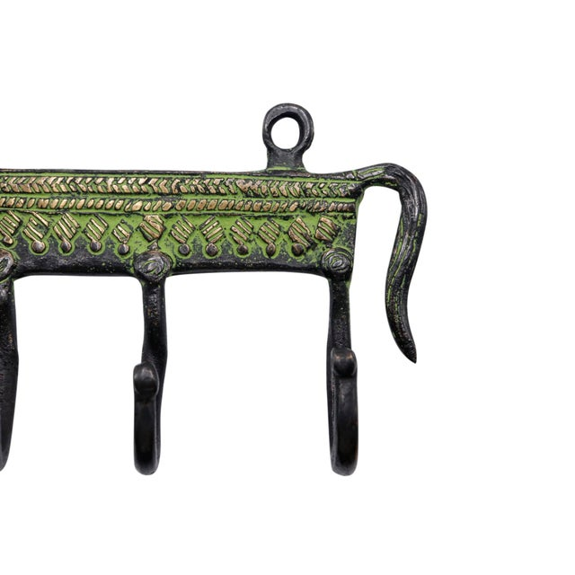 Bohemian Green Brass Horse Wall Hooks For Sale - Image 4 of 5