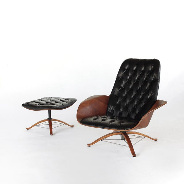 Danish Modern Mid Century Modern George Mulhauser for Plycraft Early Mr Chair Lounge Chair & Ottoman For Sale - Image 3 of 11