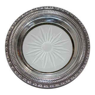 Mid-Century Franklin Whiting Sterling Silver & Cut Glass Wine Bottle Coaster For Sale