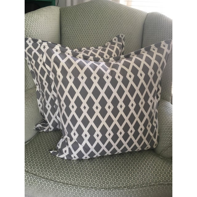 Modern Gray Geometric Pillow Cases - A Pair For Sale - Image 3 of 8