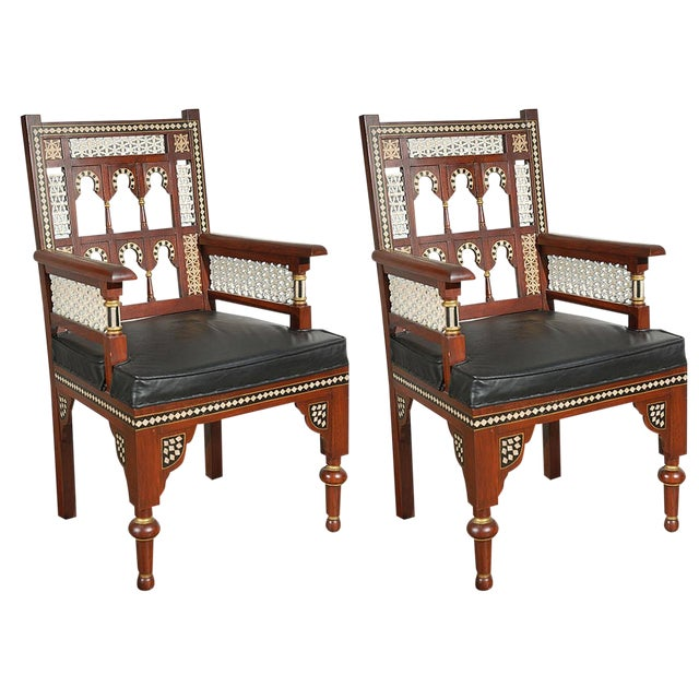 Pair of Moroccan Moorish Armchairs For Sale - Image 9 of 9