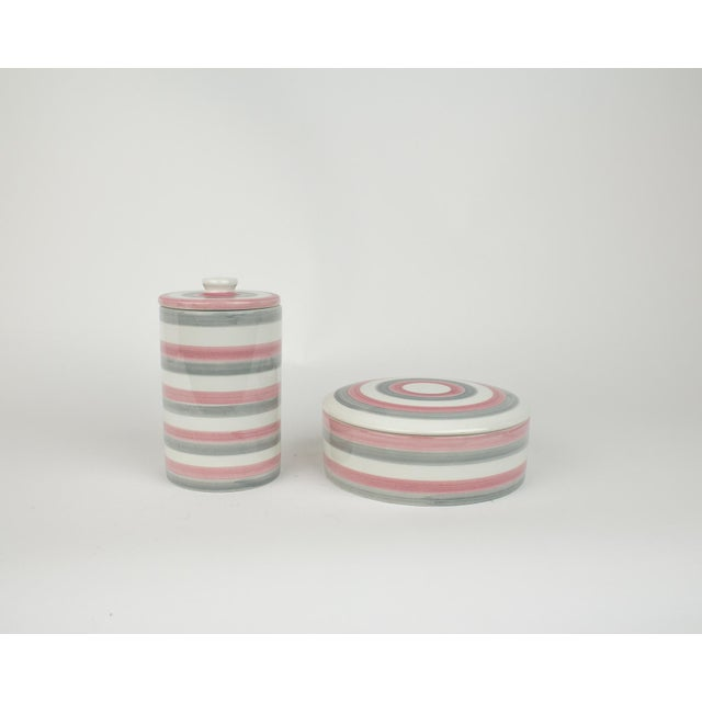 Italian Ceramic Lidded Grey and Pink Stripped Containers For Sale - Image 11 of 11