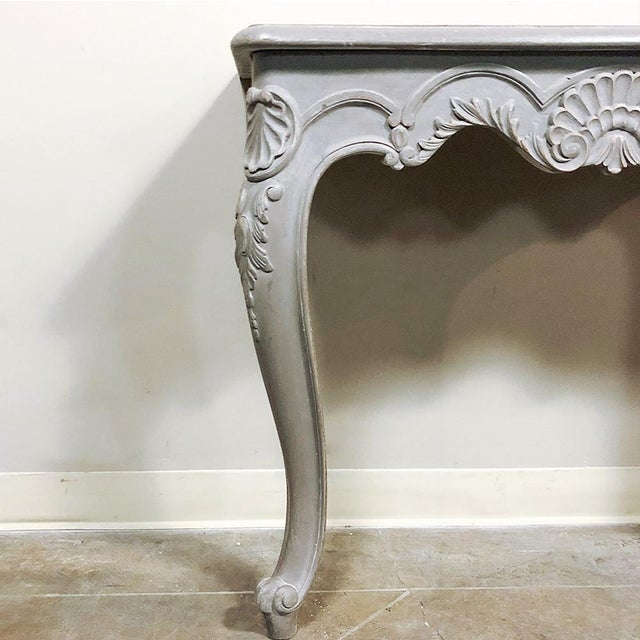 Late 19th Century Pair 19th Century French Louis XV Painted Consoles For Sale - Image 5 of 13