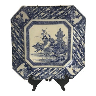 Japanese Blue & White Crane Square Plate For Sale